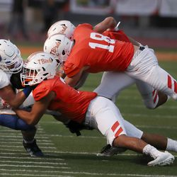 Timpview's defense stops Orem in a high school football game at Timpview High in Provo on Thursday, Sept. 30, 2021.