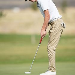 Morgan High School's Tanner Telford competes in the 3A boys state championships at Oquirrh Hills Golf Course in Tooele on Thursday, Oct. 7, 2021.