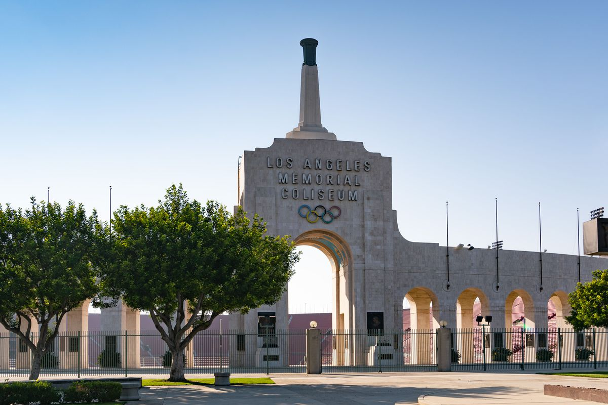 General views of the Los Angeles Memorial Coliseum, home of the USC Trojans and the 2028 Summer Olympics, and the former home of the Los Angeles Rams on October 09, 2020 in Los Angeles, California.