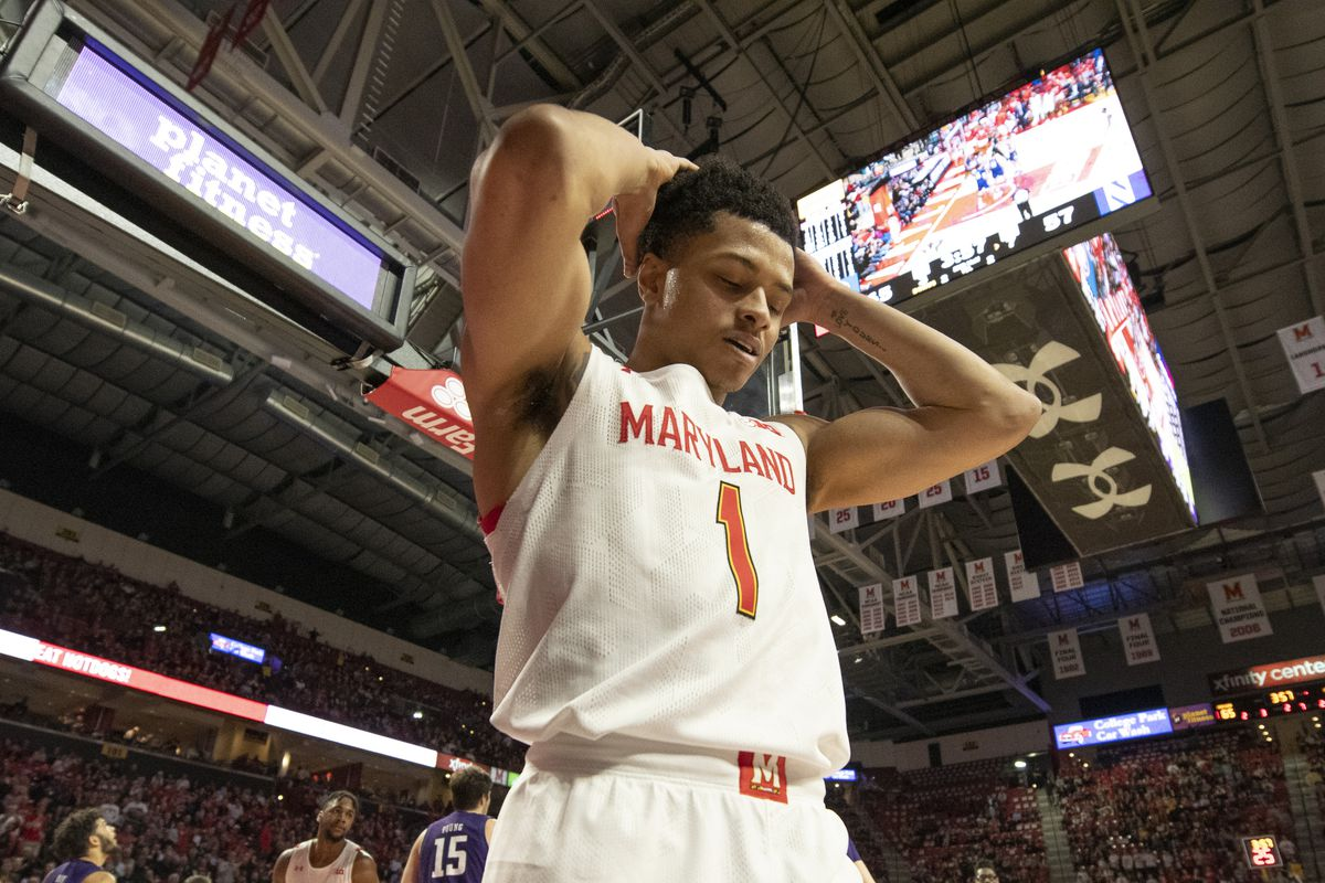 Maryland Terrapins guard Anthony Cowan Jr. reacts during the second half against the Northwestern Wildcats at XFINITY Center.