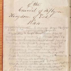 The latest volume of the Joseph Smith Papers features the minutes from the Council of Fifty meetings held in Nauvoo, Illinois, in the 1840s. The minutes were recorded in three volumes by William Clayton.
