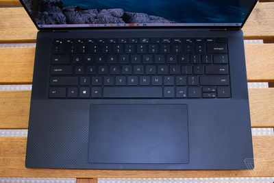 Top down view of the keyboard of the Dell XPS 15 laptop.