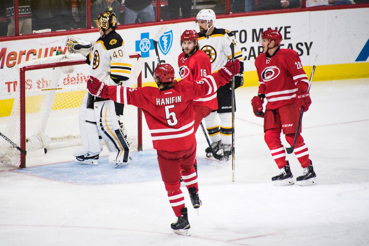 Boston native Noah Hanifin scored the lone Canes goal against his hometown team.