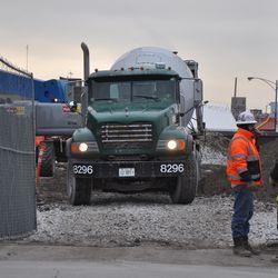 Concrete truck in the triangle lot