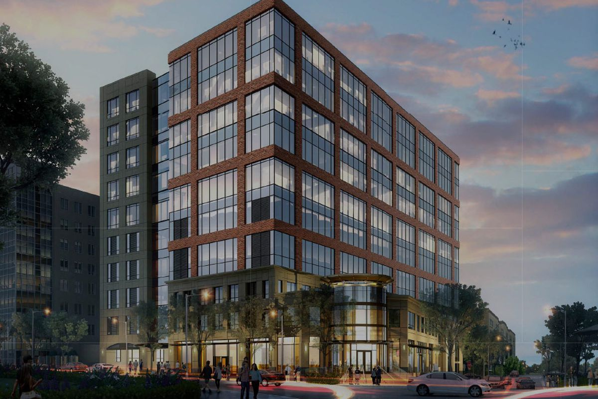 A rendering of a 12-story office and retail building, which features modern construction and lots of glass.