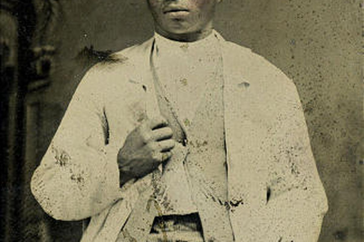 Union Army vet John Pinkey submitted this photo as part of his pension application. Blacks had trouble getting OK'd.