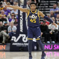 Utah Jazz guard Donovan Mitchell (45) yells to his teammates during an NBA game against the Phoenix Suns at the Vivint Smart Home Arena in Salt Lake City on Monday, Feb. 24, 2020.