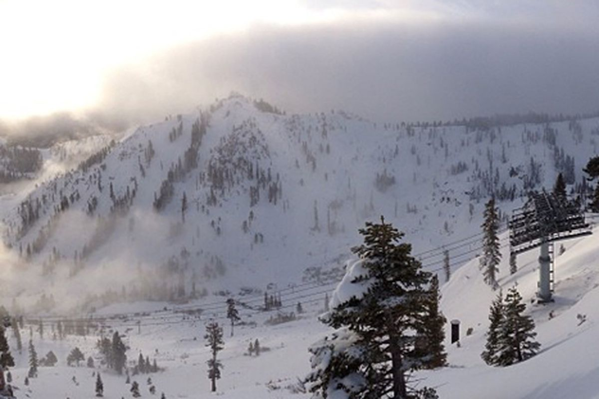 """Photo of this morning's ski patrol view via Squaw Valley/<a href=""""http://instagram.com/squawvalley"""">Instagram</a>"""