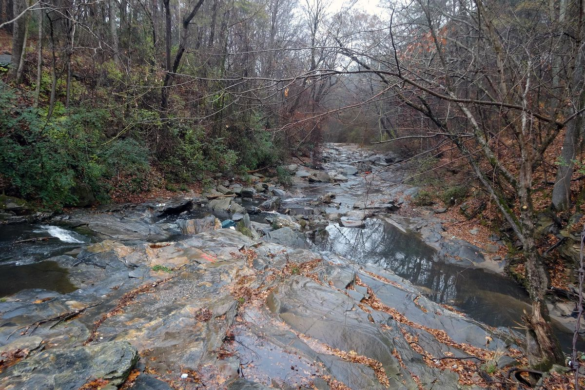 A view up serene Proctor Creek during the fall.