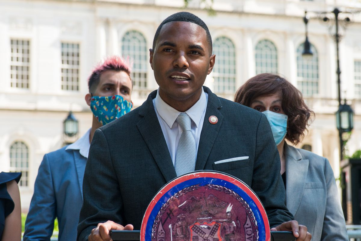 Councilmember Ritchie Torres speaks outside City Hall, Sept. 8, 2020.
