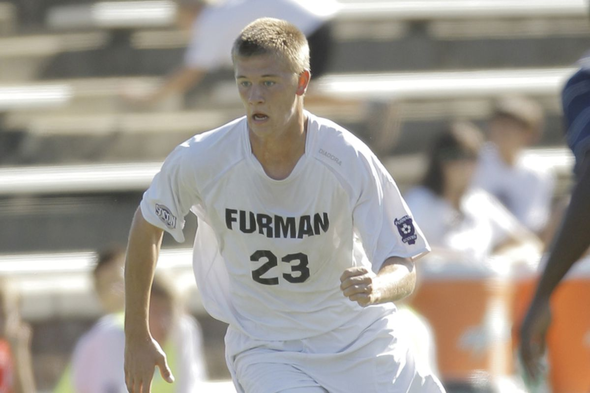 Walker Zimmerman in action for Furman during the 2012 season