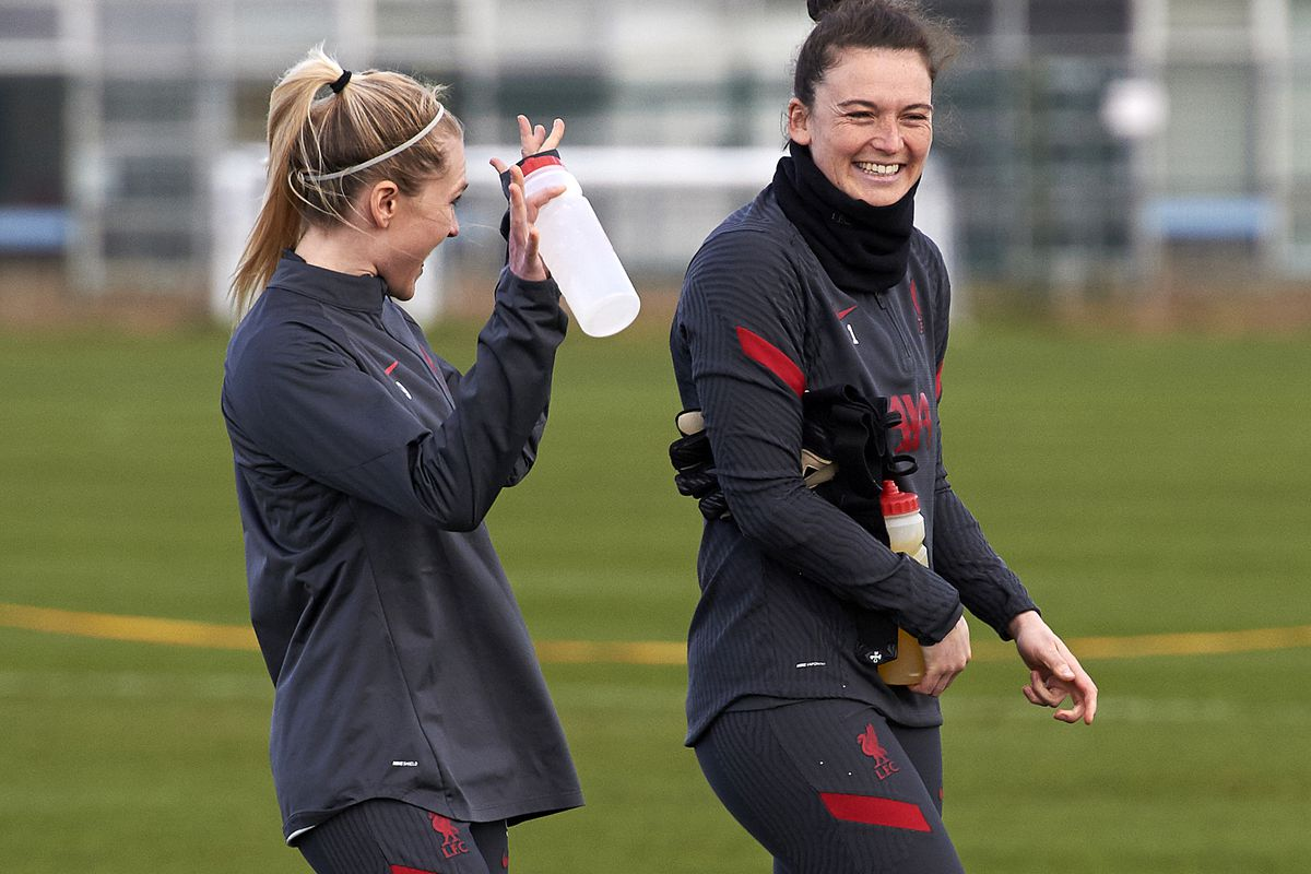 Amalie Thestrup and Rachael Laws of Liverpool FC Women during a training session at Solar Campus on March 12, 2021 in Wallasey, England.