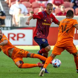 Houston Dynamo forward Maximiliano Urruti (37) dives for the ball as RSL and Houston play an MLS soccer game at Rio Tinto Stadium in Sandy on Saturday, June 26, 2021.