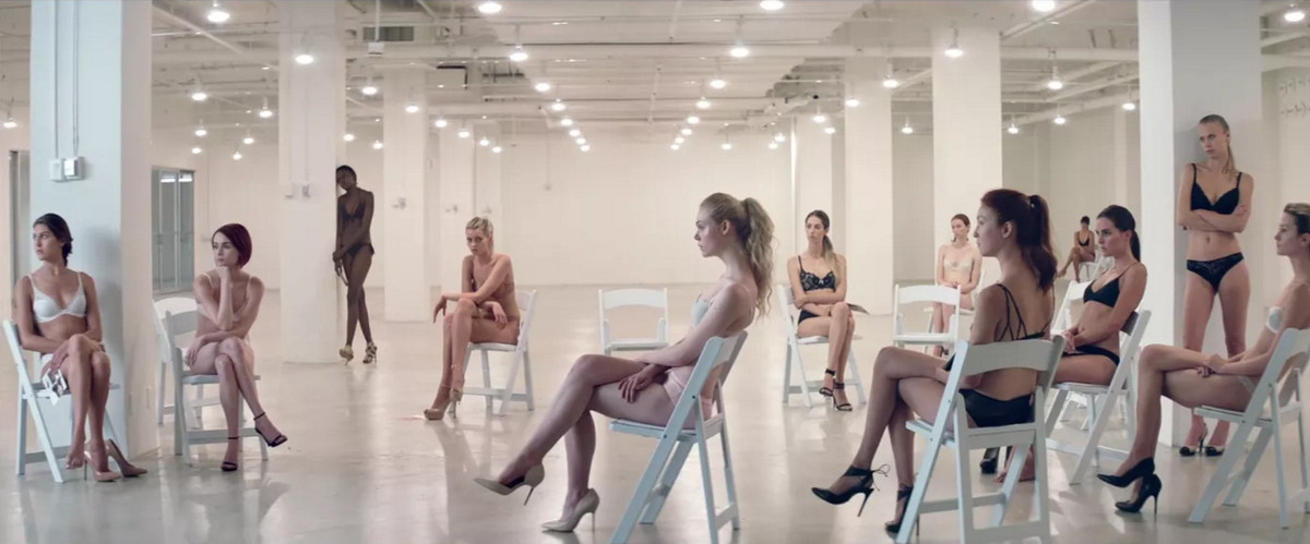 Elle Fanning, Abbey Lee, and more models at a casting in The Neon Demon.