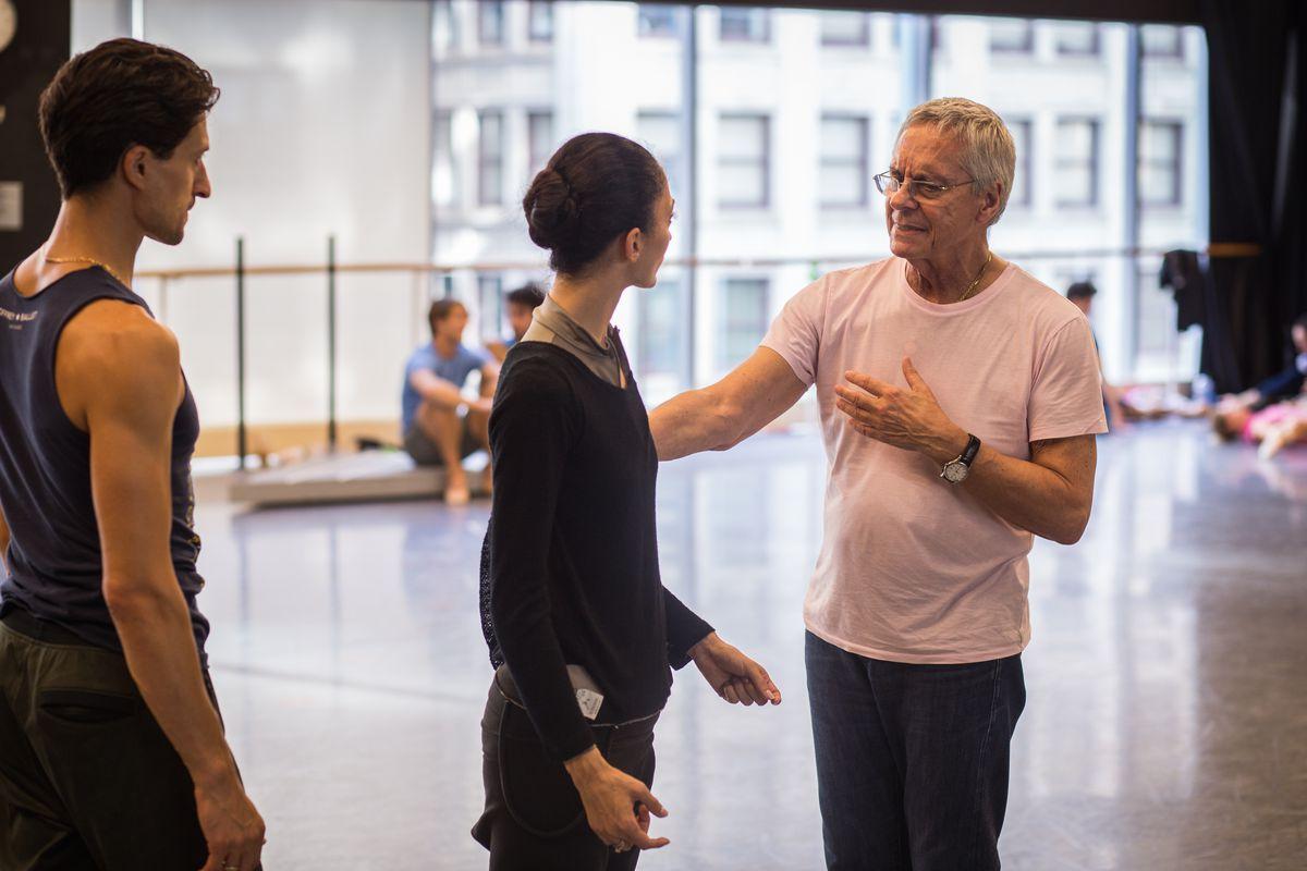 "John Neumeier (right) rehearses for ""Orphee et Eurydice"" with Joffrey ballet dancers Victoria Jaiani and Temur Suluashvili. | Courtesy Joffrey Ballet"