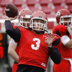Utah quarterback Jordan Wynn during practice,  Thursday, April 5, 2012, in Salt Lake City, Utah.
