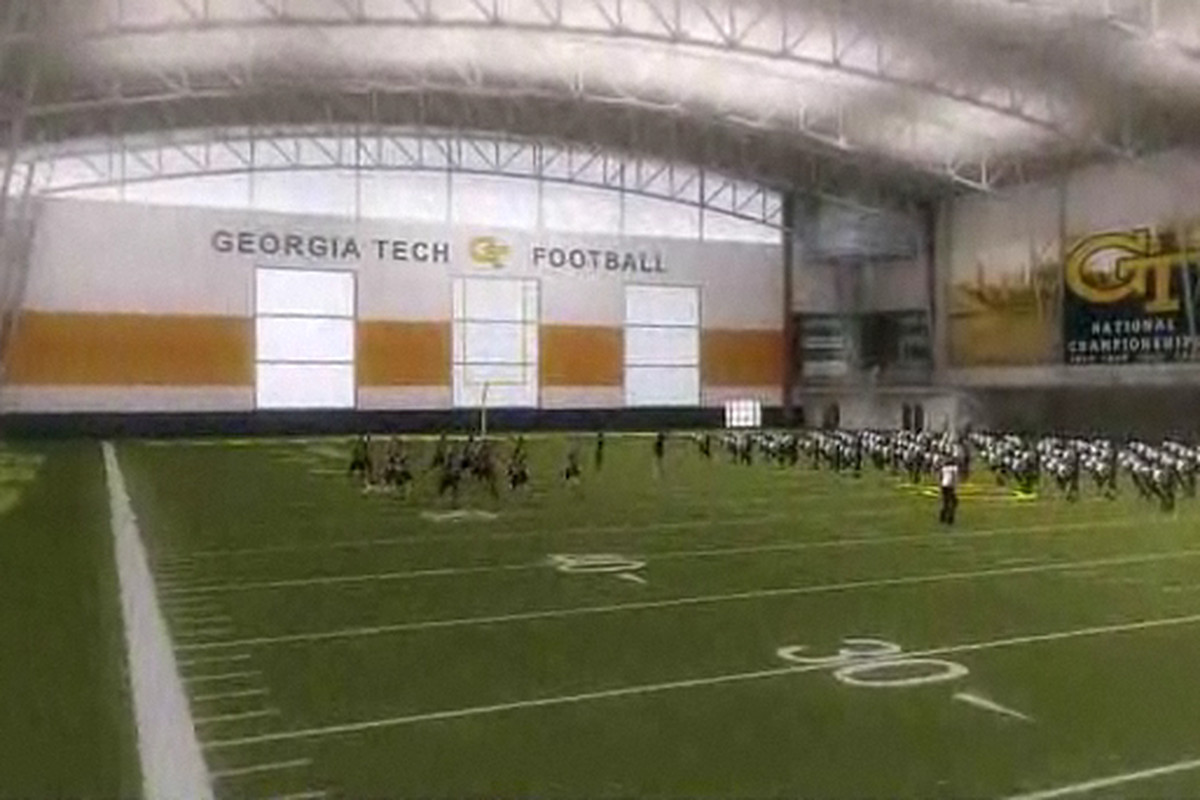 A digital mockup of Georgia Tech's new indoor football practice facility. [May Moeller Purcell Construction Company]