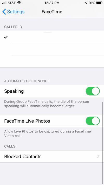 FaceTime settings