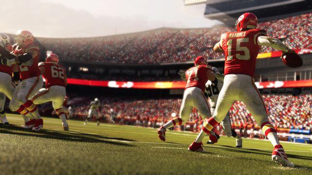 Kansas City Chiefs quarterback Patrick Mahomes drops back to throw against the Las Vegas Raiders in Madden NFL 21