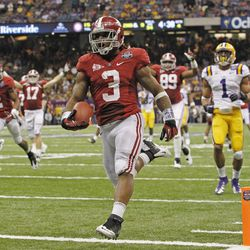 FOR USE AS DESIRED WITH NFL DRAFT STORIES - FILE - In this Jan. 9, 2012, file photo, Alabama's Trent Richardson (3) scores a touchdown during the second half of the BCS National Championship college football game against LSU in New Orleans. Richardson is a top prospect in the upcoming NFL football draft.