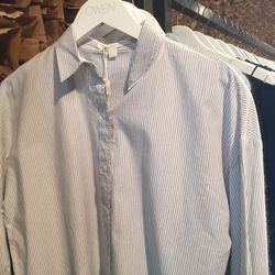 Jonathan Simkhai bib front pinstripe shirt, $117 (originally $195)