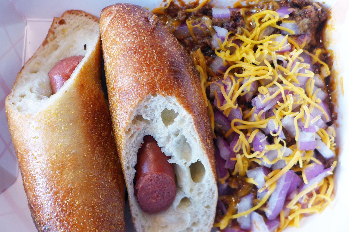 "Behold the hot dog bagel ""sandwich"""