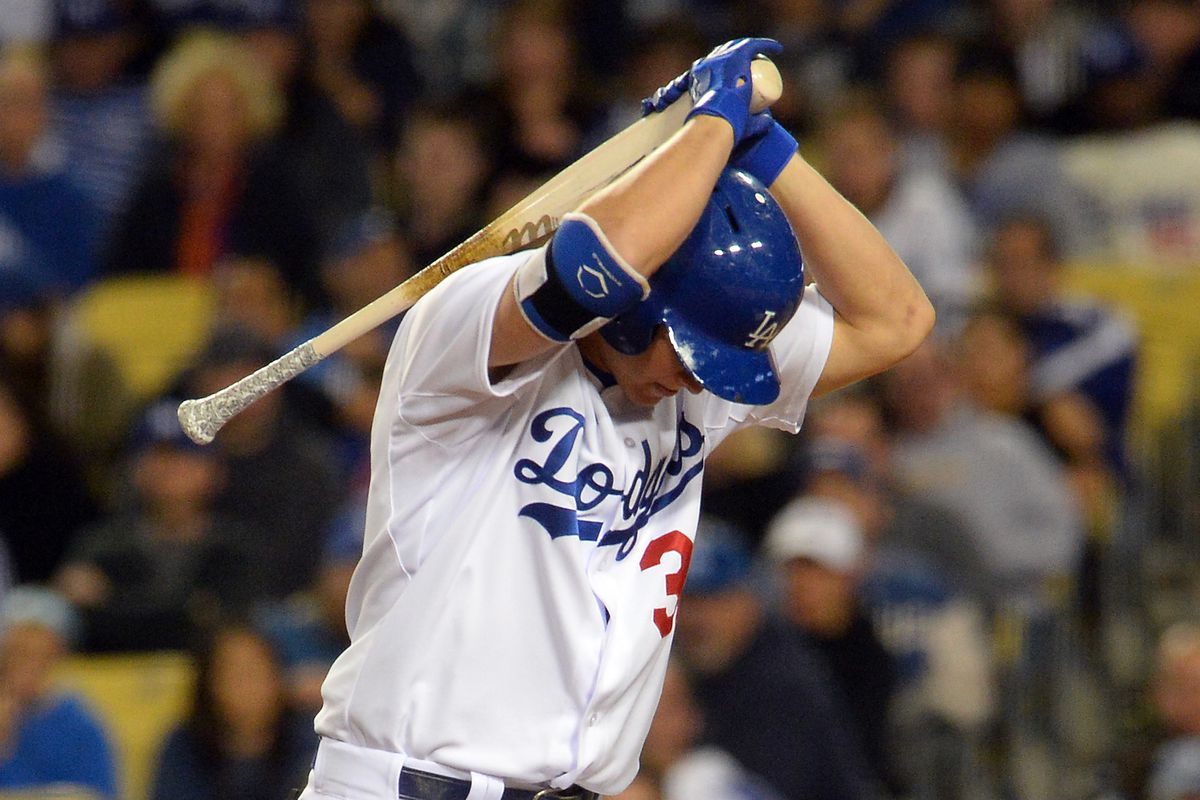 Joc Pederson reacts after striking out.