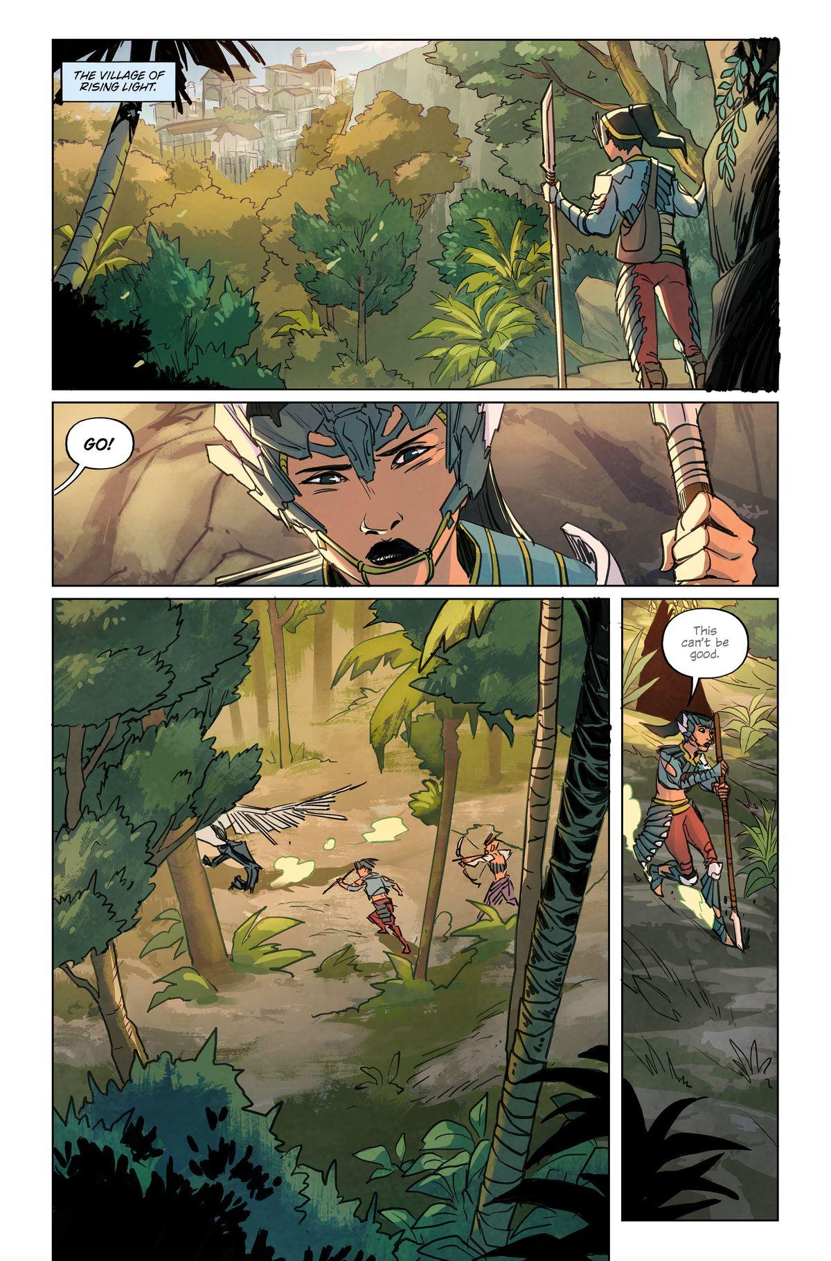 A page from Horizon Zero Dawn #1, Titan Comics (2020) featuring Talanah Khane Padish, Sunhawk of the Hungers Lodge