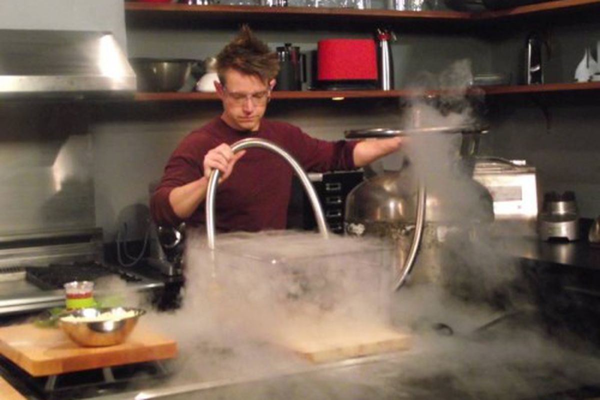 Host Chef Richard Blais using liquid nitrogen to cook basil for his scientifically engineered pizza.