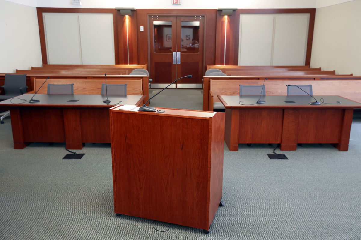 A courtroom in the Matheson Courthouse in Salt Lake City is pictured on Friday, Jan. 22, 2021.