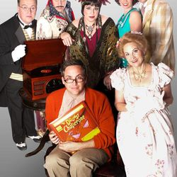 """""""The Drowsy Chaperone"""" cast members are Brett Merritt and Jayne Luke, front; Glen Carpenter, Darick J. Pead, Marcie Jacobsen, Nicole Riding and David Smith, back. The popular musical-with-a-comedy is being produced by Hale Center Theater Orem through Oct. 1."""