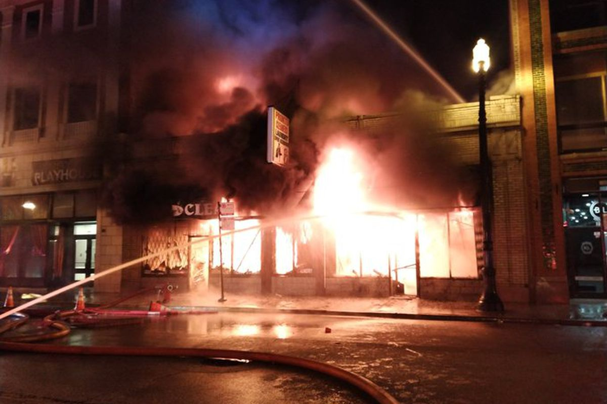 Fire officials battle a blaze at Pronto Cleaners and Laundry, 2235 S. Michigan Ave.