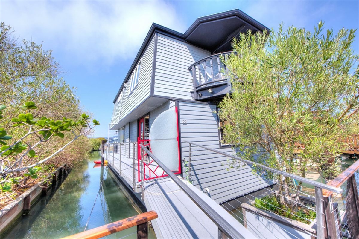 Sotheby's listed a house boat for sale at 22 Yellow Ferry Harbor in Sausalito, California.