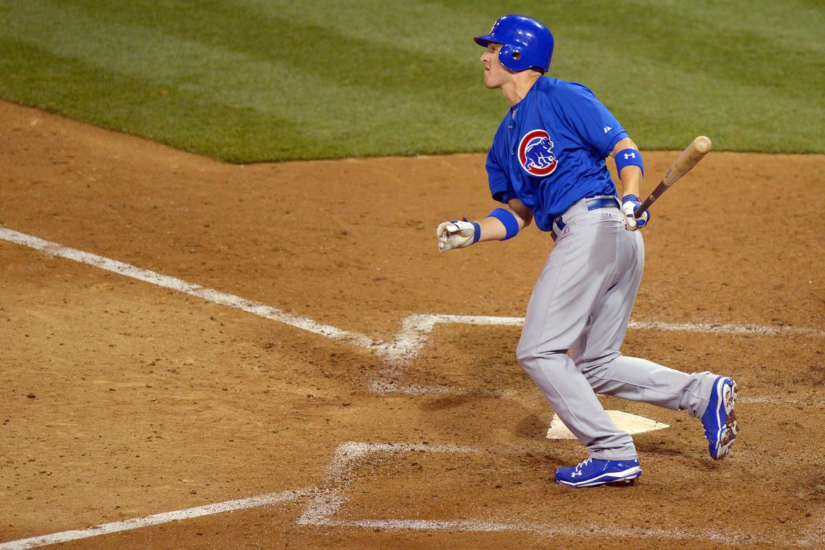 San Diego, CA, USA; Chicago Cubs third baseman Josh Vitters hits a two run double against the San Diego Padres at Petco Park. Credit: Jake Roth-US PRESSWIRE