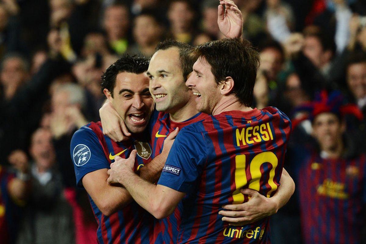 Xavi, Messi and Iniesta