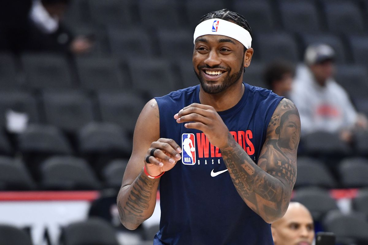 Washington Wizards guard John Wall on the court before the game between the Washington Wizards and the Atlanta Hawks at Capital One Arena.