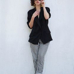 """Karla of <a href=""""http://www.karlascloset.com/"""">Karla's Closet</a> is wearing a pair of Zara trousers, a vintage silk jacket, earrings from an antique mall, <a href=""""http://www.revolveclothing.com/DisplayProduct.jsp?product=SUPE-UA38&utm_source=cj&utm_med"""