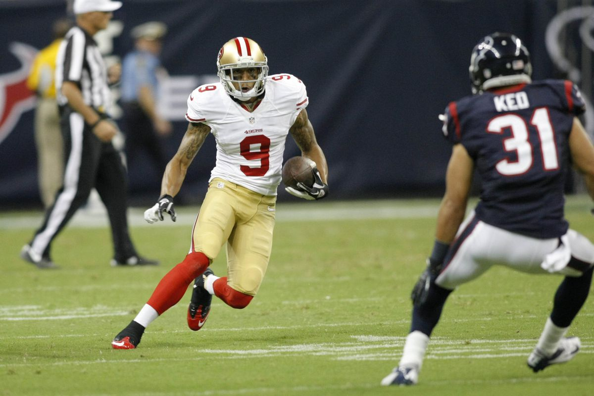 Aug 18, 2012; Houston, TX, USA; San Francisco 49ers wide receiver Brian Tyms (9) runs after a catch against the Houston Texans in the fourth quarter at Reliant Stadium. The Texans defeated the 49ers 20-9. Mandatory Credit: Brett Davis-US PRESSWIRE