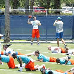 DAVIE, FL - MAY 23: Arthur Lynch #88 of the Miami Dolphins throws the ball during the rookie minicamp on May 23, 2014 at the Miami Dolphins training facility in Davie, Florida.
