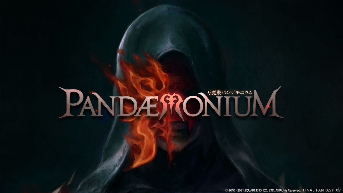 """Lahabrea with his mask on, with the text """"Pandaemonium"""" over him"""