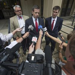 Roger Gannam of Liberty Counsel speaks to the press in July 2015. At the time, he represented Rowan County Clerk Kim Davis, who had said she couldn't issue marriage licenses to same-sex couples because of her religious beliefs. She had been sued by the American Civil Liberties Union.
