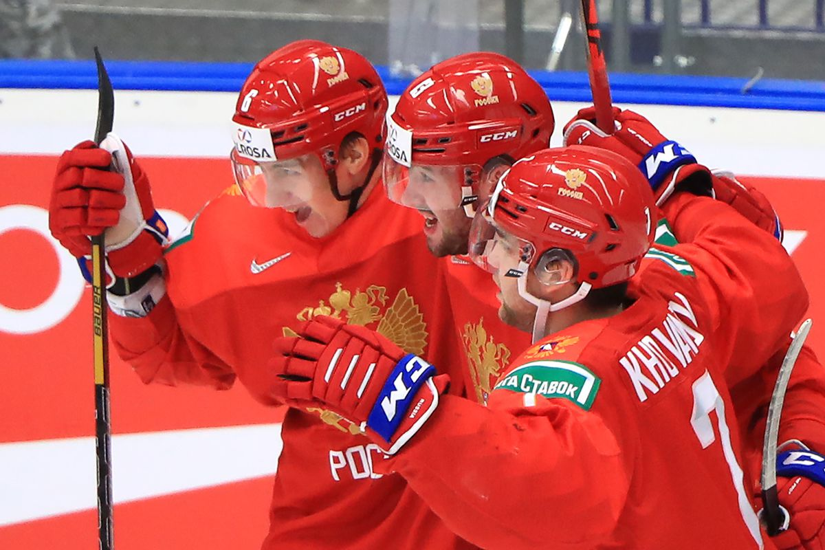 OSTRAVA, CZECH REPUBLIC - JANUARY 4, 2020: Russia's players celebrate scoring in the 2020 World Junior Ice Hockey Championship semifinal match against Sweden at Ostravar Arena.