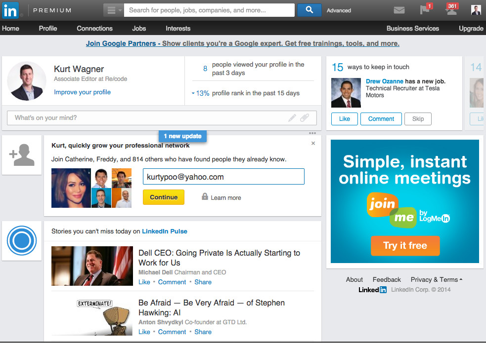 The new LinkedIn design.