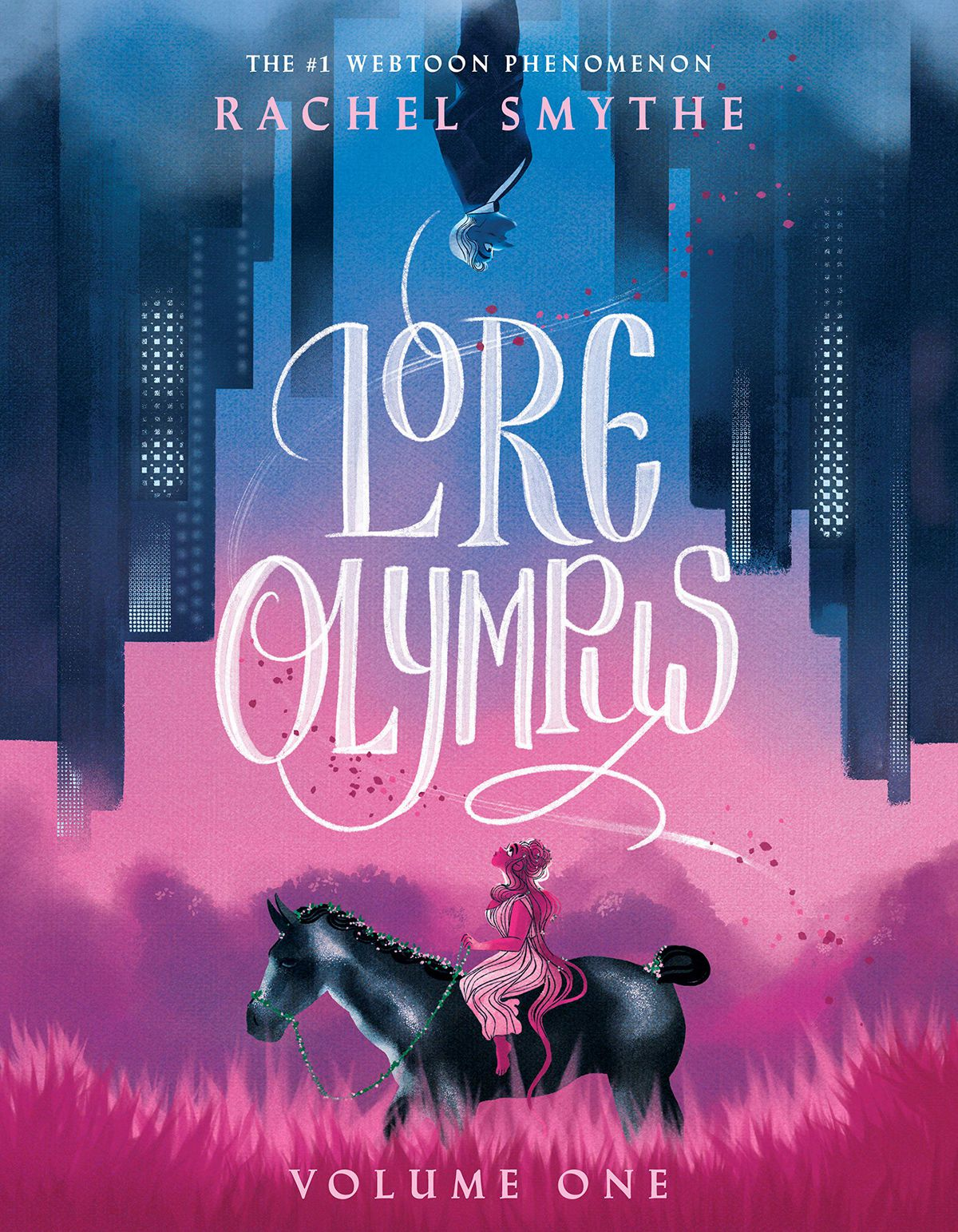 Persephone rides a black horse through a pink field, Hades hangs suspended above her on the cover of Lore Olympus Vol. 1.