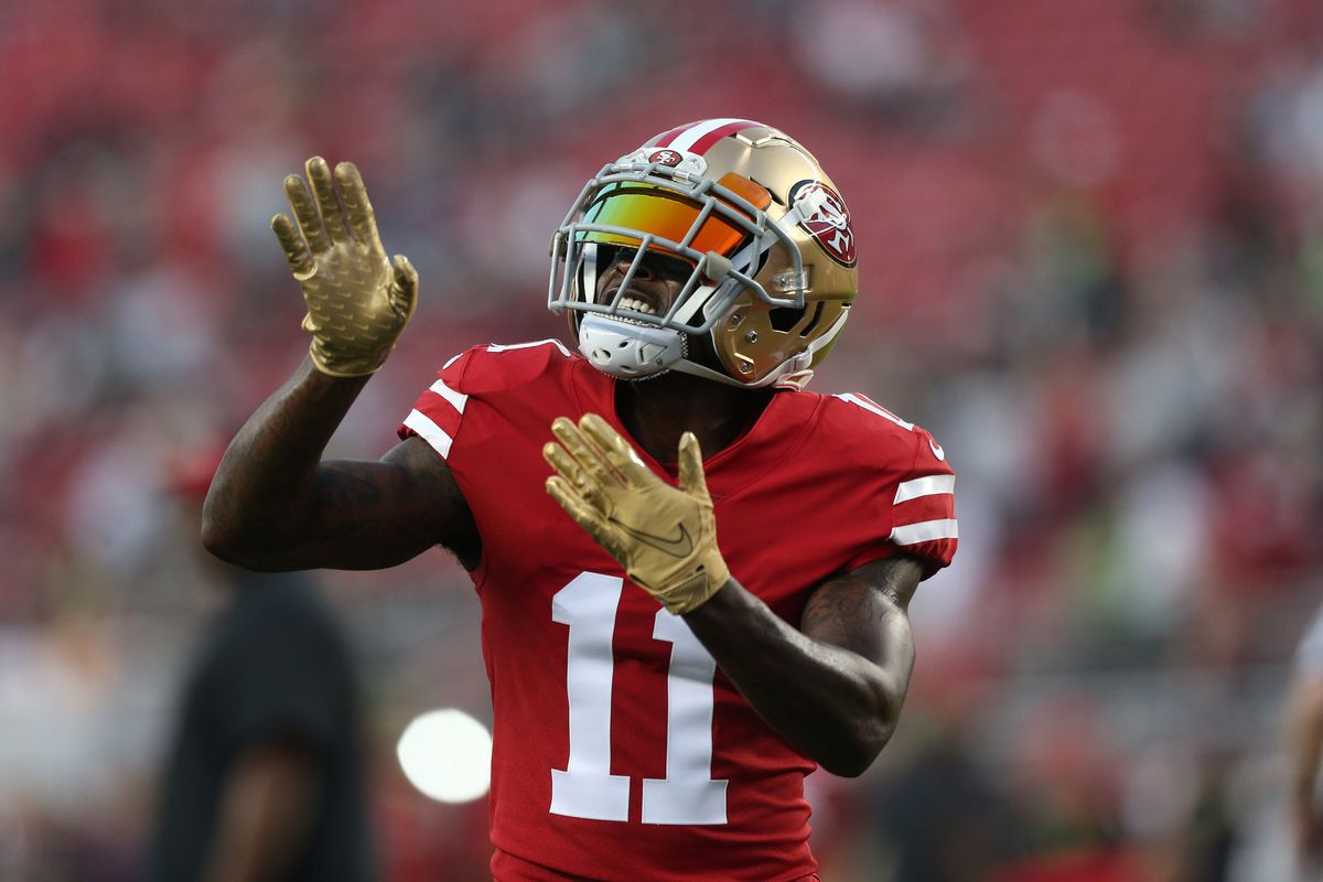 San Francisco 49ers wide receiver Marquise Goodwin dances on the field before the start of the game against the Seattle Seahawks at Levi's Stadium.