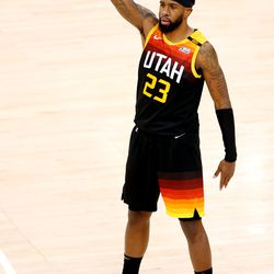 Utah Jazz forward Royce O'Neale (23) celebrates a 3-point shot as the Utah Jazz and the Memphis Grizzlies play in Game 5 of the first round of the NBA Finals at Vivint Arena in Salt Lake City on Wednesday, June 2, 2021. Utah won 126-110, Utah advances to the second round.