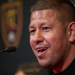 Real Salt Lake's goalkeeper Nick Rimando talks with media at a press conference at Rio Tinto Stadium Friday, Sept. 27, 2019. Rimando will play his home last game on Sunday.