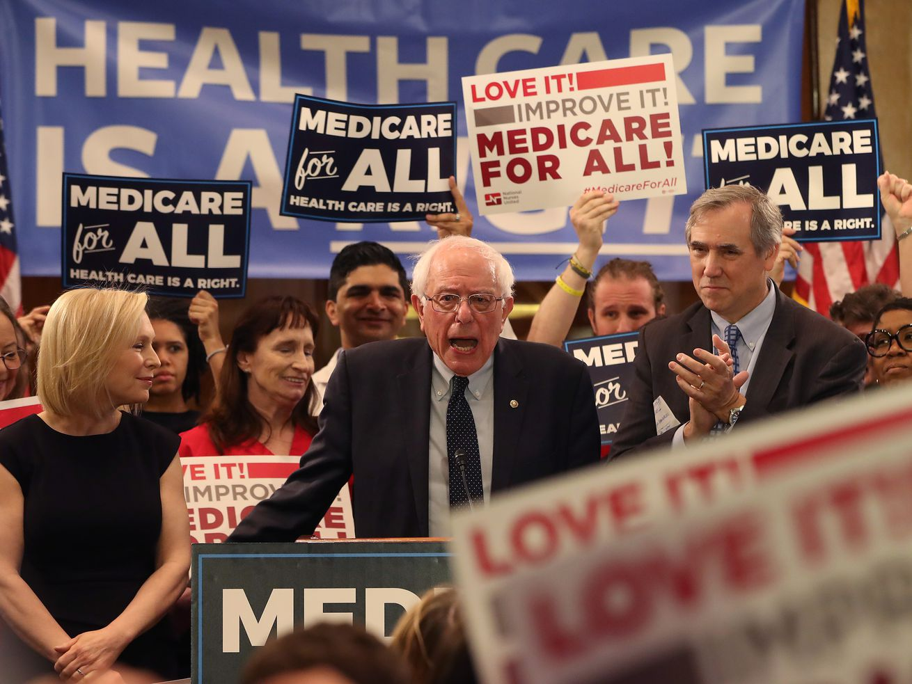 Sen. Bernie Sanders (I-VT) speaks while introducing the Medicare for All Act of 2019.