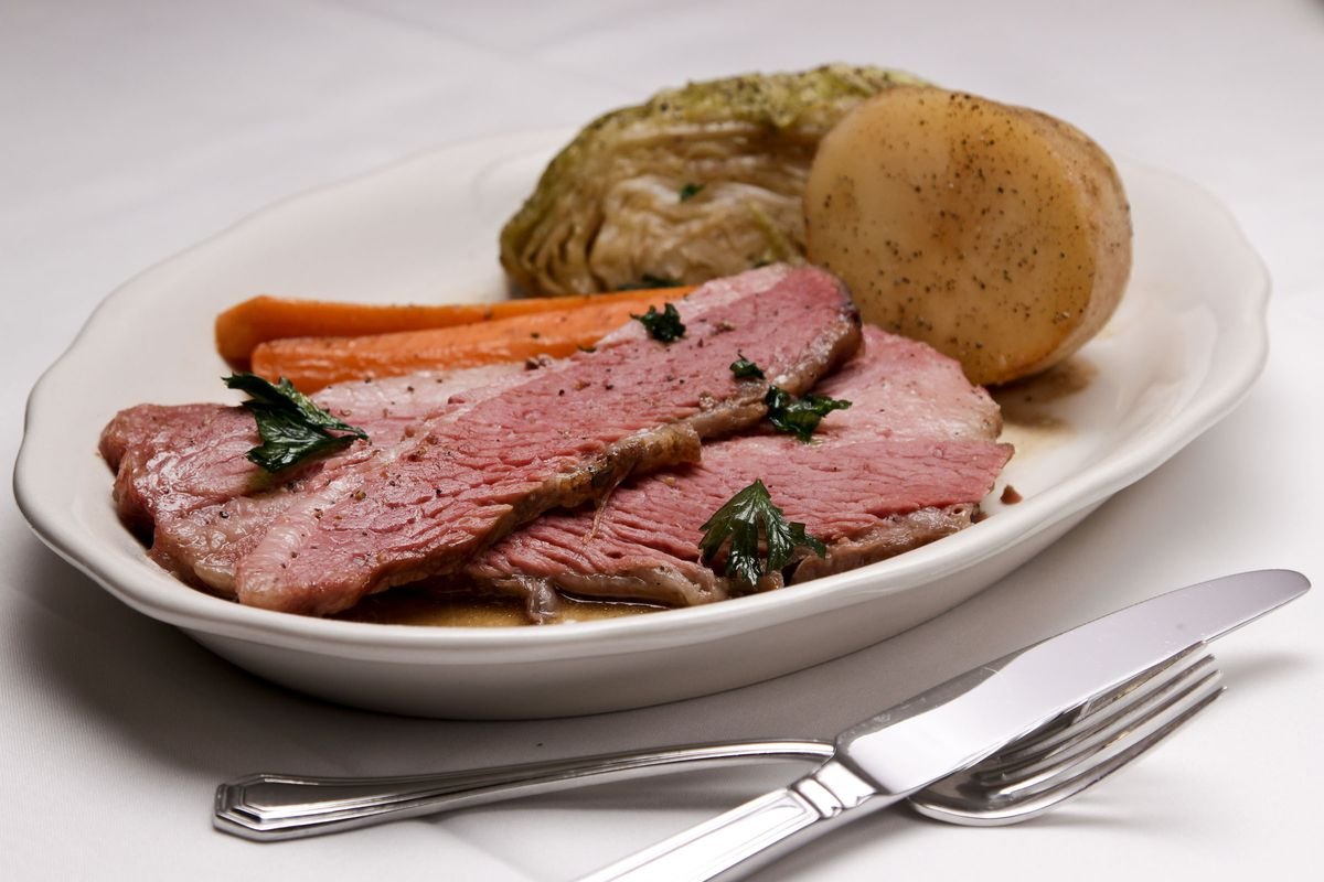 LOS ANGELES, CA - OCTOBER 19, 2012 - Corned Beef and Cabbage served at TOM BERGIN's Irish pub, on Fa