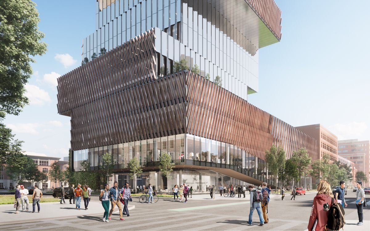 Rendering of a blocky building as it meets a busy sidewalk.